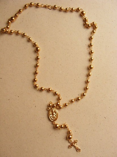 Goldtone extra long rosary necklace