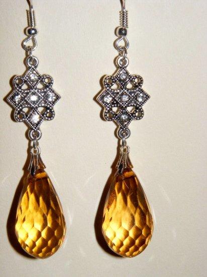 Victorian Nostalgia chandelier romantic dangle citrine earrings