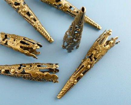 Lot of 10 Bronze Filigree Nail Beads Caps