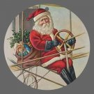 Victorian Style Santa Clause Porcelain Christmas Ornament - Flying Santa 02 - NEW
