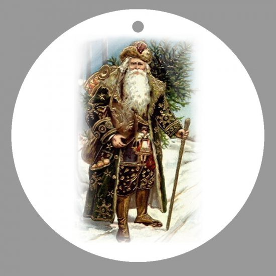 Victorian Style Santa Clause Porcelain Christmas Ornament - German Santa 01 - NEW