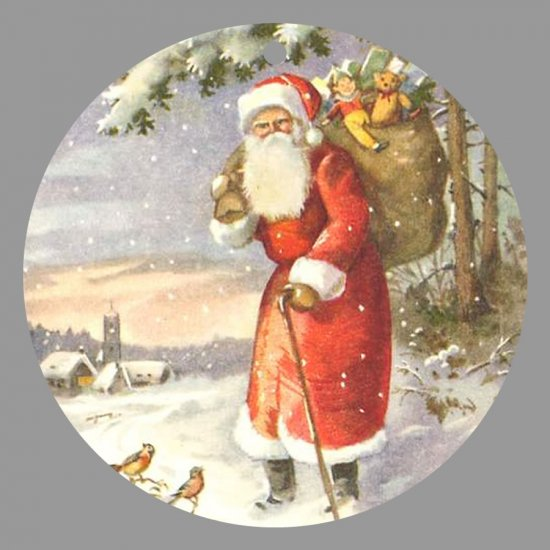 Victorian Style Santa Clause Porcelain Christmas Ornament - Santa by a Snowy Church - NEW