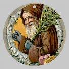 Victorian Style Santa Clause Porcelain Christmas Ornament - Brown Santa - NEW