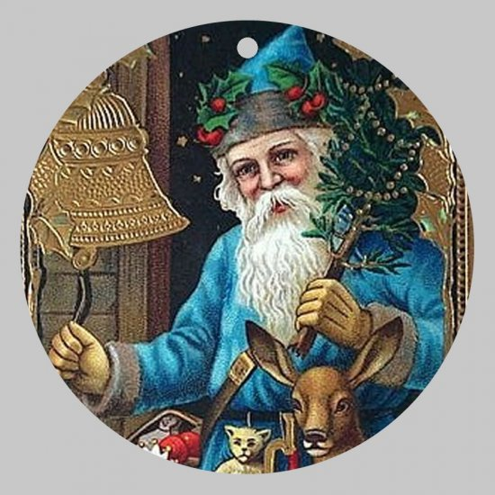 Victorian Style Santa Clause Porcelain Christmas Ornament - Blue Santa w/ Bells 01 - NEW