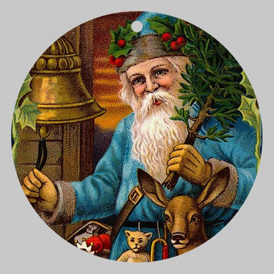 Victorian Style Santa Clause Porcelain Christmas Ornament - Blue Santa w/ Bells 02 - NEW