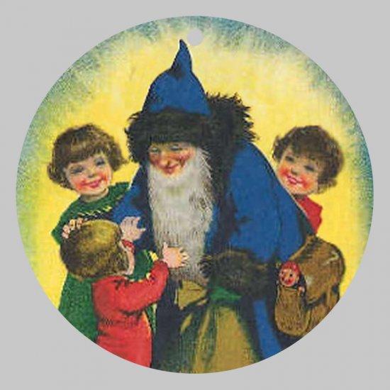 Victorian Style Santa Clause Porcelain Christmas Ornament - Blue Santa w/ Kids - NEW
