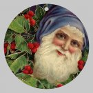 Victorian Style Santa Clause Porcelain Christmas Ornament - Blue Santa w/ Holy - NEW