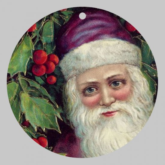 Victorian Style Santa Clause Porcelain Christmas Ornament - Purple Santa w/ Holy - NEW