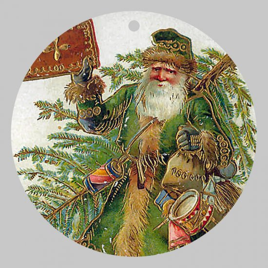 Victorian Style Santa Clause Porcelain Christmas Ornament - Green Santa - NEW
