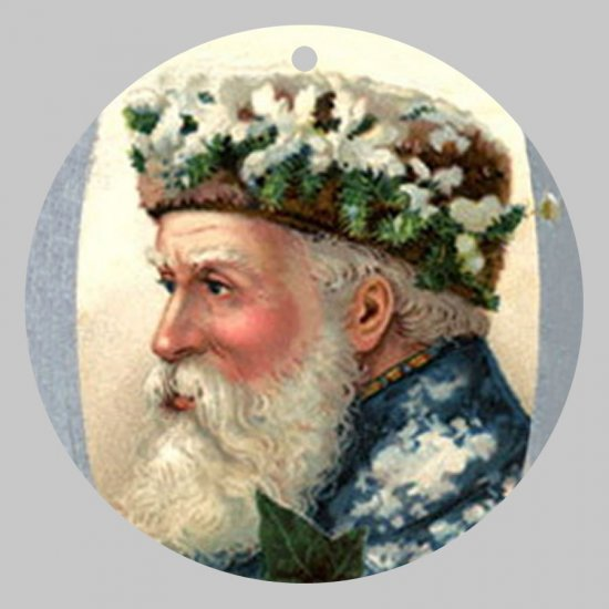 Victorian Style Santa Clause Porcelain Christmas Ornament - Santa Profile - NEW