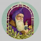 Victorian Style Santa Clause Porcelain Christmas Ornament - Purple Santa - NEW