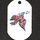 "ALUMINUM DOG TAG With 30"" CHAIN - Tie Dye Dove & Branch - NEW"
