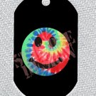 "ALUMINUM DOG TAG With 30"" CHAIN - Tie Dye Smiley Face - NEW"