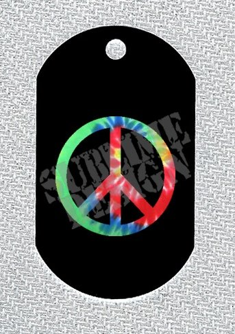 """ALUMINUM DOG TAG With 30"""" CHAIN - Tie Dye Peace Symbol - NEW"""