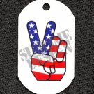 "ALUMINUM DOG TAG With 30"" CHAIN - American Flag Peace Sign - NEW"