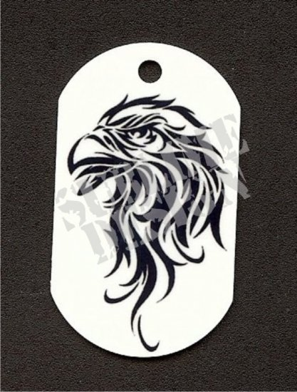 "ALUMINUM DOG TAG With 30"" CHAIN - Tribal Eagle - NEW"