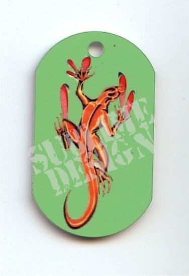 "ALUMINUM DOG TAG With 30"" CHAIN - Komodo Dragon - NEW"
