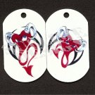 "ALUMINUM DOG TAG With 30"" CHAIN - Paired Devil Hearts - NEW"