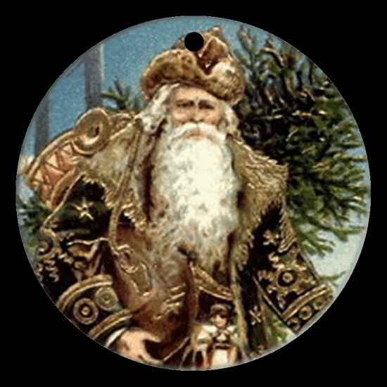 Victorian Style Santa Clause Porcelain Christmas Ornament - German Santa 02 - NEW