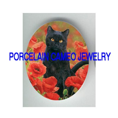 BLACK CAT WITH POPPY UNSET CAMEO PORCELAIN CABOCHON