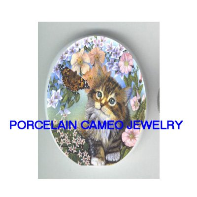 KITTY CAT CHASE BUTTERFLY FLOWER UNSET CAMEO PORCELAIN CABOCHON