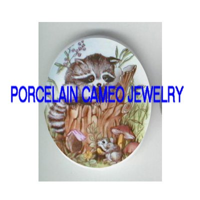 RACCOON MOUSE MUSHROOM UNSET CAMEO PORCELAIN CABOCHON