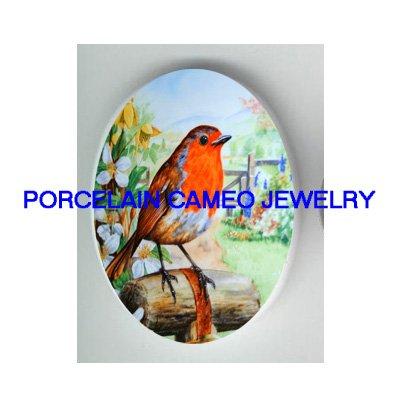 SPRING ROBIN BIRD GARDEN UNSET CAMEO PORCELAIN CABOCHON
