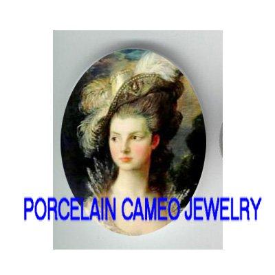 VICTORIAN MRS GRAHAM UNSET PORCELAIN CAMEO CABOCHON