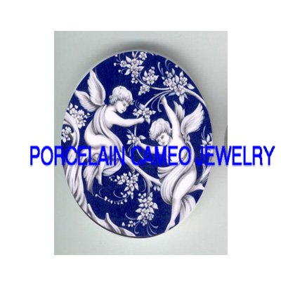 2 TOILET BLUE ANGEL CHERUB* UNSET CAMEO PORCELAIN CABOCHON