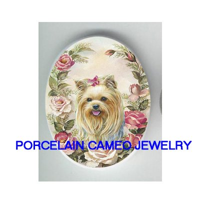YORKSHIRE TERRIER DOG ROSE UNSET CAMEO PORCELAIN CABO