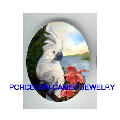 COCKATOO COCKATIEL BIRD ORCHID CAMEO PORCELAIN 18X25MM
