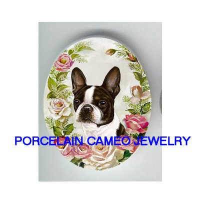BOSTON TERRIER DOG SPRING ROSE UNSET CAMEO PORCELAIN CABOCHON