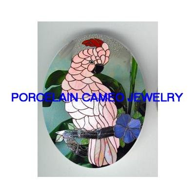 MOLUCCAN COCKATOO BIRD FLOWER  * UNSET CAMEO PORCELAIN CABOCHON