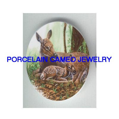 DEER CUDDLING FAWN UNSET CAMEO PORCELAIN CABOCHON