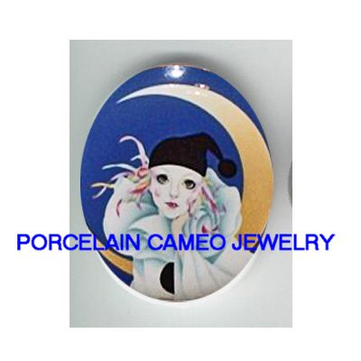 FRENCH PIERROT BUBBLE MOON UNSET PORCELAIN CAMEO CABO