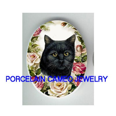 GREEN EYE BLACK CAT ROSE UNSET PORCELAIN CAMEO CABOCHON