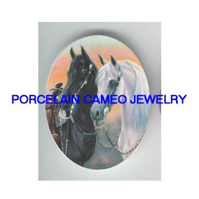 2 BLACK WHITE STALLION HORSE UNSET PORCELAIN CAMEO CABO