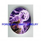 2 PURPLE WOLF HOWLING MOON UNSET PORCELAIN CAMEO CABO
