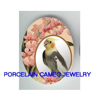 COCKATOO COCKATIEL BIRD PINK ORCHID CAMEO PORCELAIN CABOCHON