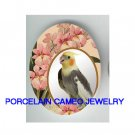 COCKATOO COCKATIEL BIRD PINK ORCHID CAMEO PORCELAIN CABOCHON 18X25MM