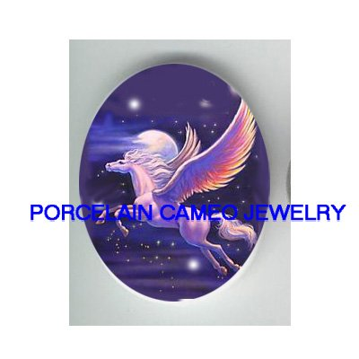 PURPLE PEGASUS HORSE MOON UNSET CAMEO PORCELAIN CABO