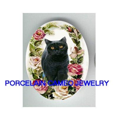 BLACK CAT SPRING ROSE* UNSET CAMEO PORCELAIN CABOCHON