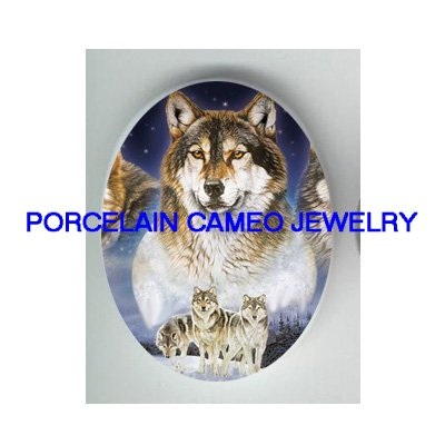 4 WOLF PACK SNOW FOREST* UNSET CAMEO PORCELAIN CABOCHON