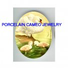 3 SWAN FAMILY MOM BABY* UNSET CAMEO PORCELAIN CABOCHON