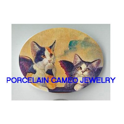 2 RAPHAEL CALICO ANGEL CAT UNSET CAMEO PORCELAIN CABO