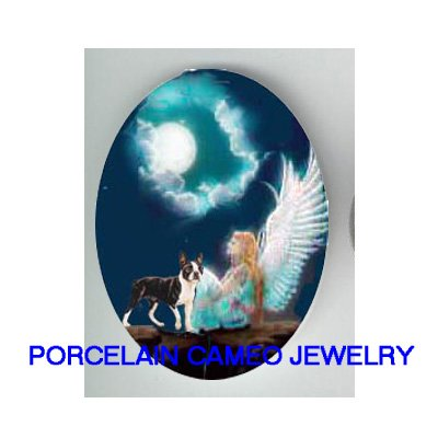 BOSTON TERRIER DOG ANGEL MOON  * UNSET CAMEO PORCELAIN CABOCHON