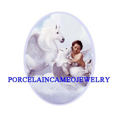 WHITE PEGASUS HORSE UNSET CAMEO PORCELAIN CABOCHON