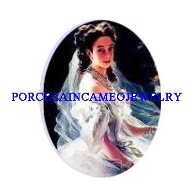 VICTORIAN VINTAGE BRIDEUNSET PORCELAIN CAMEO CABOCHON
