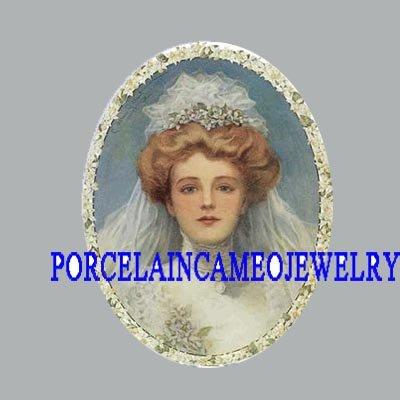 VICTORIAN VINTAGE BRIDE FLOWER UNSET PORCELAIN CAMEO  CABOCHON