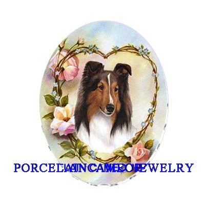 SHELTIE DOG ROSE HEART FORGET ME NOT UNSET CAMEO PORCELAIN